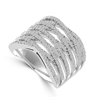 Diamond Essence Designer Cocktail Ring With Brilliant Melee, Set in 14K White Gold CrissCross Setting.