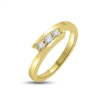 Triple Century...This delicate beauty is crafted with 3 Sparkling Round Brilliants encompassed to glitter together. Appx. 0.70 Cts. set in 14K Gold Vermeil.
