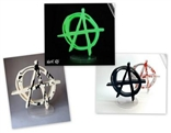 All 4 Kozik Anarchy Symbols - Black, Murder, GID, & Bloody GID