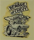 "ED ""Big Daddy"" Roth Beware Of Chevy Original 1960's Decal Sticker"
