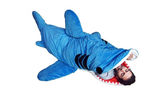 chumbuddy 3 adult giant shark sleeping bag and designer plush