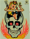 Lady Luck In Skull Vintage Impok Water Slide Decal