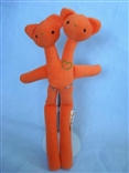 Orange Double Bear Designer Plush Teddy Bear Figure by Tyler Poncho