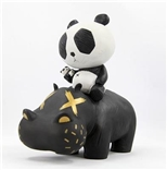 P.R.A.H. Panda Riding A Hippo (Black Edition) Designer Vinyl Toy Figure By Cacooca