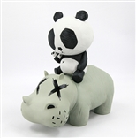 P.R.A.H. Panda Riding A Hippo (Grey Edition) Designer Vinyl Toy Figure By Cacooca