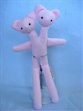 Pink Double Bear Designer Plush Teddy Bear Figure by Tyler Poncho