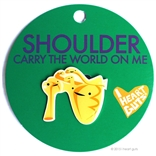 Shoulder Lapel Pin Urine My Heart! I Heart Guts Carry The World On Me
