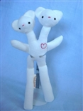 White Double Bear Designer Plush Teddy Bear Figure by Tyler Poncho