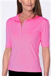 Golftini Elbow Sleeve Fashion Tech Polo - Hot Pink