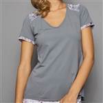 Denise Cronwall Short Sleeve Top - Grey w/ Rhapsody Print