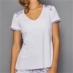 Denise Cronwall Short Sleeve Top - White w/ Rhapsody Print