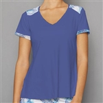 Denise Cronwall Short Sleeve Top - Blue/Scotia Print