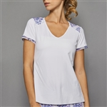 Denise Cronwall Short Sleeve Top - White w/ Serenity Print