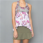 Denise Cronwall Tennis Dress - Army of Lovers Green, Floral Mesh