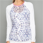 Denise Cronwall Mosaic Long Sleeve Sheer Fitness Top
