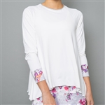 Denise Cronwall Long Sleeve Top - White, Floral