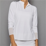 Denise Cronwall Long Sleeve Collar Top - Pure White