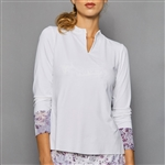 Denise Cronwall Long Sleeve Collar Top - Rhapsody White