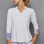 Denise Cronwall Long Sleeve Collar Top - Serenity White