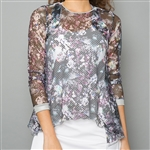 Denise Cronwall Sheer Pullover Top - Vivid Dark, Floral
