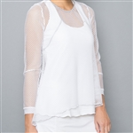 Denise Cronwall White Mesh Sheer Body Top