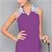 Denise Cronwall Mosaic Violet Sleeveless Polo