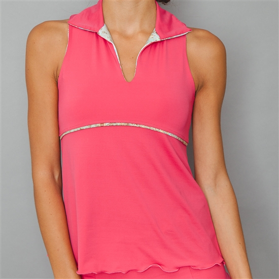 Denise Cronwall Sleeveless Deco Red Polo