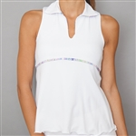 Denise Cronwall Sleeveless Deco White Polo