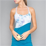 Denise Cronwall Trista Teal Spaghetti Strap Top