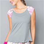 Denise Cronwall Wyn Cap Sleeve Top Grey