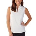 Bobby Jones Tech Sleeveless Zip Polo - White