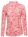 IBKUL Caribbean Tile UPF 50 Sun Shirt - Orange