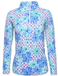 IBKUL Floral Links UPF 50 Sun Shirt - Blue