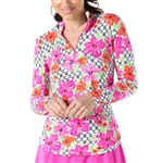 IBKUL Floral Links UPF 50 Sun Shirt - Pink