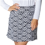 IBKUL Keleigh UPF 50 Straight Golf Skort - Black/White