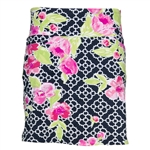 "IBKUL Ashly 18"" Paisly Golf Skort - Black/Pink"