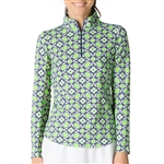 IBKUL Sean UPF 50 Sun Shirts - Kelly Green/Navy