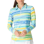 IBKUL Kate UPF 50 Sun Shirts - Periwinkle/Yellow