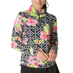 IBKUL Ashly UPF 50 Sun Shirts - Black/Pink