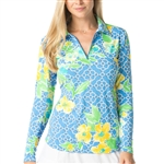 IBKUL Ashly UPF 50 Sun Shirts - Periwinkle/Yellow