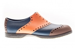 BIION Wingtips Golf Shoe - Orange, Navy & Brown