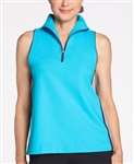 KINONA Sporty Shoulders Golf Top - Turquoise