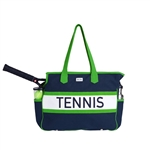 Ame & Lulu Varsity Court Bag - Navy + Green