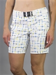 JoFit Belted Golf Short - Limoncello Check