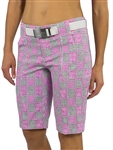 JoFit Belted Bermuda Golf Short - Sangria Plaid