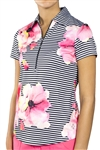 Jofit Jacquard Short Sleeve Polo Stripe Floral