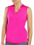 JoFit Scallop Sleeveless Fluorescent Pink Polo