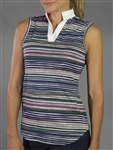 JoFit Victory Collar Aurora Stripe Sleeveless Polo
