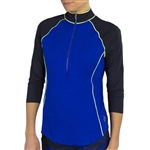 Jofit 3/4 Sleeve Piped Mock - Blueberry