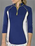 Jofit 3/4 Sleeve Piped Mock - Blue Depth/Yellow